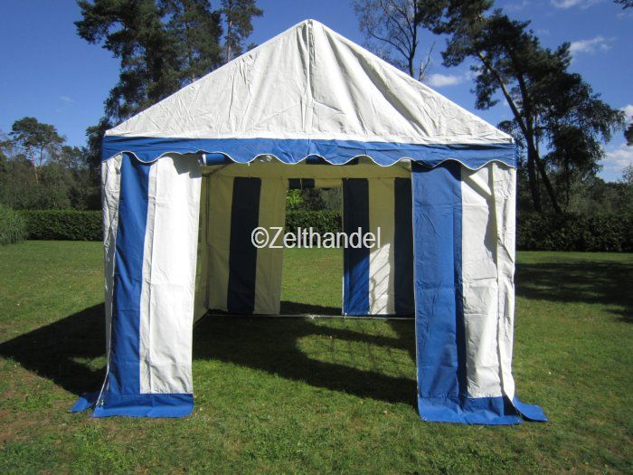 partyzelt pavillon gartenzelt 3x3 m pvc verkaufszelt blau wei neu ebay. Black Bedroom Furniture Sets. Home Design Ideas