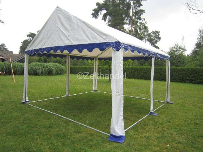 partyzelt bierzelt pavillon zelt 4x4 m blau wei wasserdicht gartenzelt pvc ebay. Black Bedroom Furniture Sets. Home Design Ideas