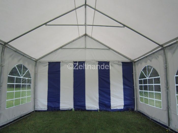 partyzelt bierzelt pavillon zelt 4x4 m blau wei wasserdicht gartenzelt pvc. Black Bedroom Furniture Sets. Home Design Ideas