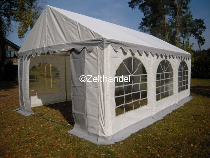 partyzelt 3x6 m gartenzelt pavillon zelt grau wei wasserdicht pvc ebay. Black Bedroom Furniture Sets. Home Design Ideas