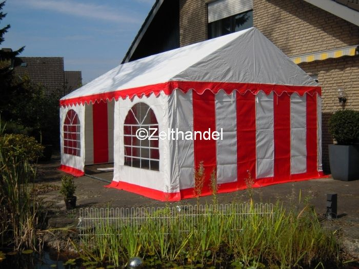 4x6m und 4x4 m pvc partyzelt kombizelt gartenzelt pavillon rot weiss ebay. Black Bedroom Furniture Sets. Home Design Ideas