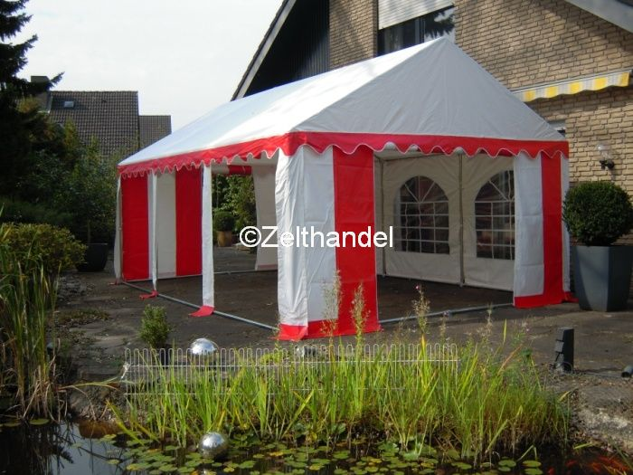 partyzelt festzelt pavillon zelt 4x6 m pvc rot weiss ebay. Black Bedroom Furniture Sets. Home Design Ideas