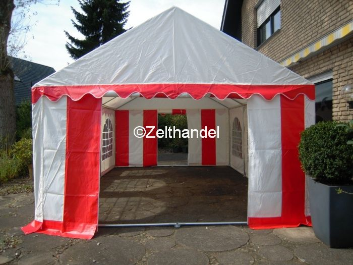 partyzelt festzelt pavillon zelt 4 x 6 m pvc rot weiss ebay. Black Bedroom Furniture Sets. Home Design Ideas