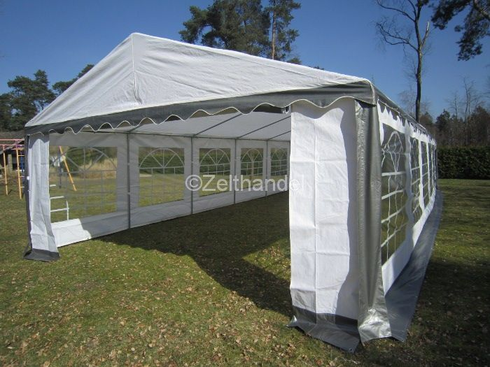 partyzelt pavillon pe zelt 5x10 m 10 x 5 m grau weiss neu ebay. Black Bedroom Furniture Sets. Home Design Ideas