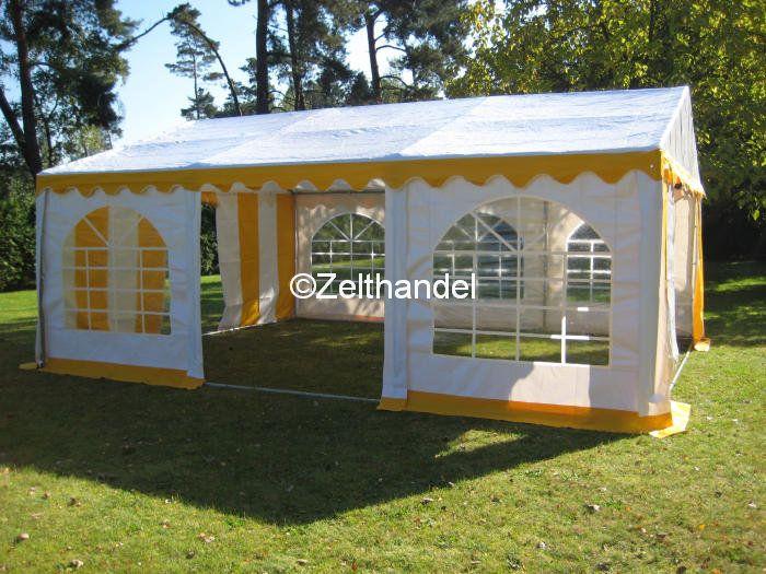 partyzelt festzelt pavillon zelt 3x6 m gelb weiss pvc ebay. Black Bedroom Furniture Sets. Home Design Ideas