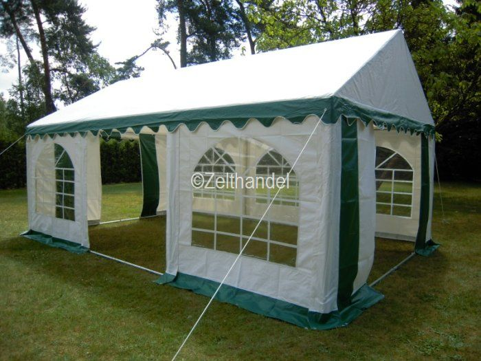 partyzelt festzelt pavillon zelt 4x6 m pvc gr n weiss ebay. Black Bedroom Furniture Sets. Home Design Ideas