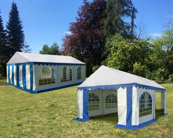 Kombizelt 4x6m und 4x4m blau-weiß PVC