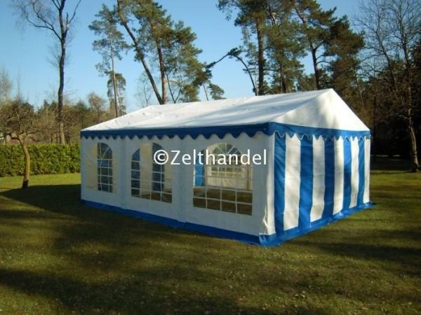 Partyzelt 5x6 blau-weiß mit Bodenrahmen und Dachverstrebung