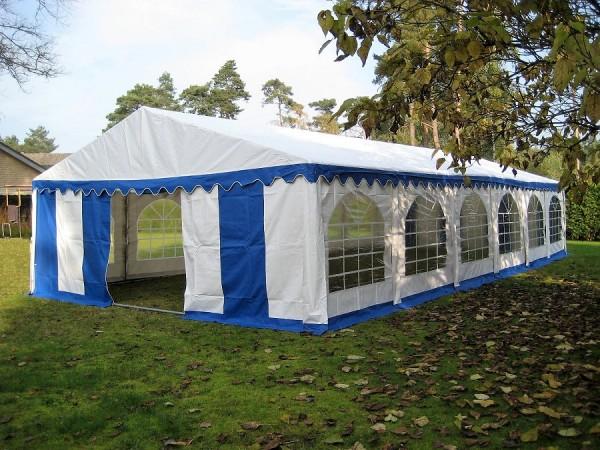 Partyzelt 6x12m, PVC blau-weiß mit Bodenrahmen und Dachverstrebung