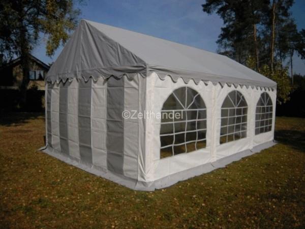 Partyzelt 3x6 PVC grau-weiß graues Dach mit Dach- und Bodenverstärkung