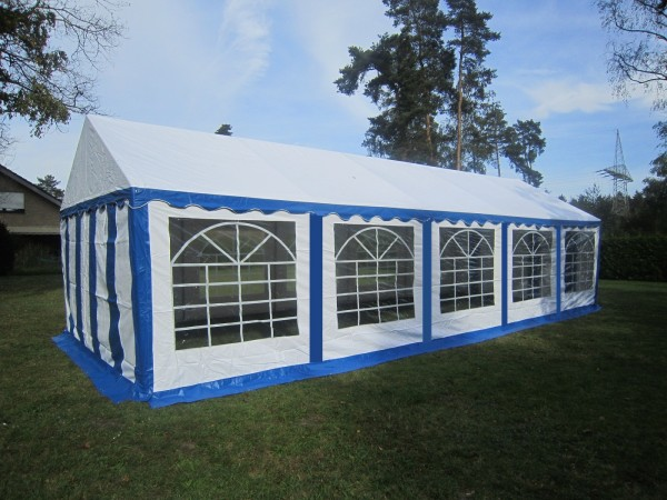 Partyzelt 4x10, PVC blau-weiß