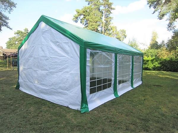 Partyzelt 4x6, PE 240g/m² weiß mit grünem Dach
