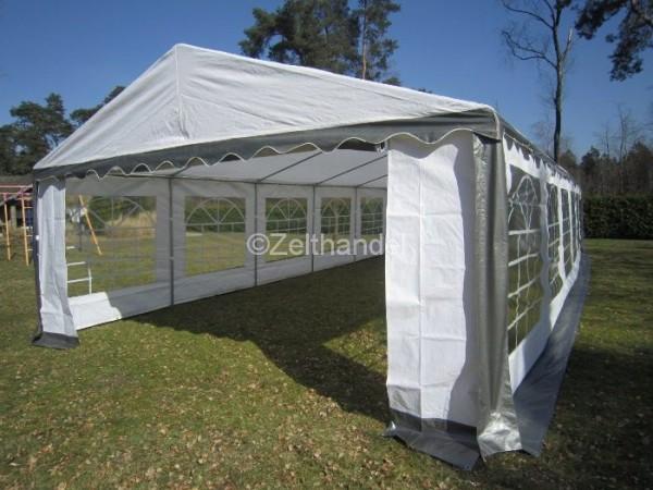 Partyzelt 5x10m grau-weiß PVC