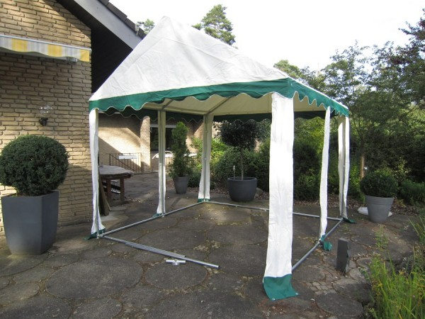 Dachplane Partyzelt 4x4m PVC gruen-weiß wasserdicht