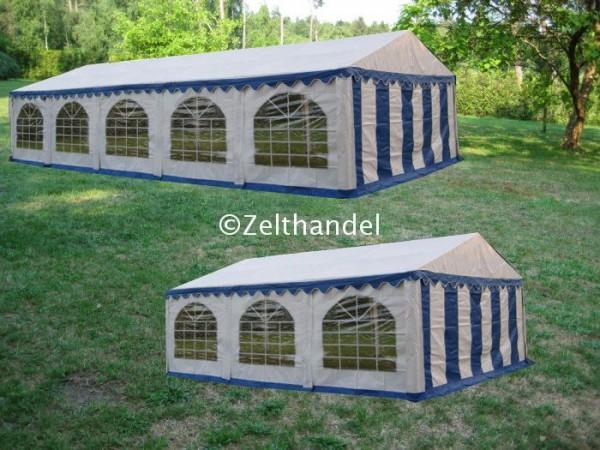 Kombizelt 5x10/5x6 blau-weiß mit 2 Dachplanen