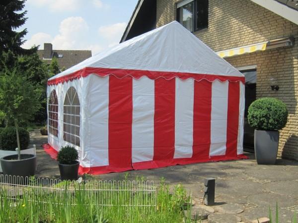 Partyzelt 4x4 rot-weiß mit Bodenrahmen und Dachverstärkung