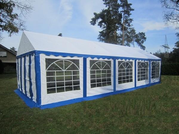 Profizelt Gartenzelt 4x10m PVC blau-weiß wasserdicht