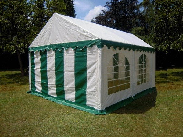3x4m Partyzelt Pavillon gruen-weiß PVC