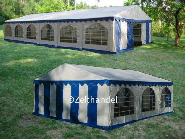 Kombizelt 5x12/5x6 blau/weiß mit 2 Dachplanen