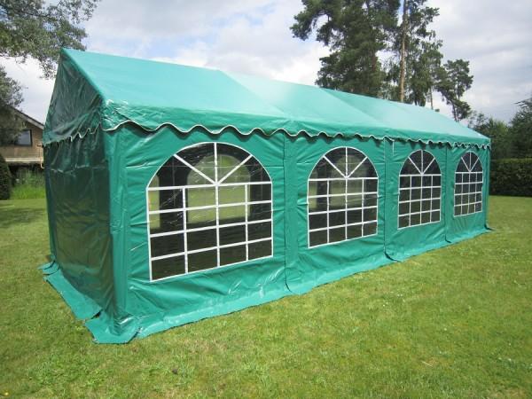 Partyzelt 5x8 grün, PVC, Dach- und Bodenverstärkung