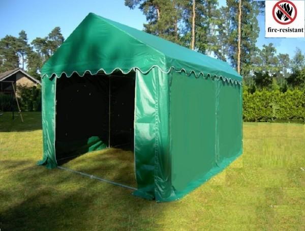 Partyzelt 4x4 PVC feuerfest grün, Bodenrahmen u. Dachverstrebung