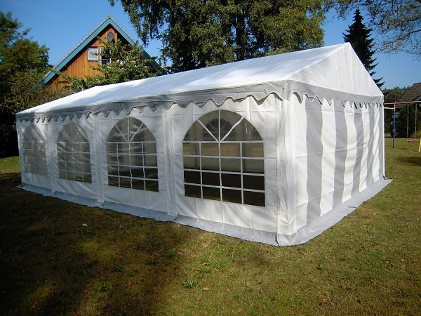 Partyzelt 4x8 grau-weiß mit Dach-und Bodenverstärkung