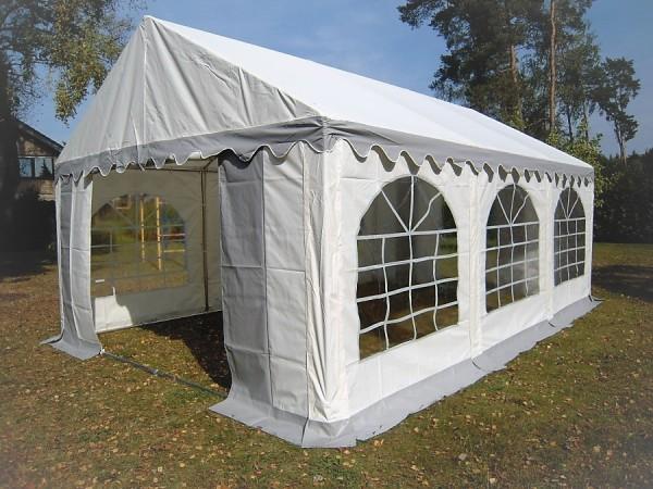 Partyzelt 4x6 grau-weiß PVC, Bodenrahmen u.Dachverstrebung