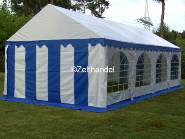 3x9m Partyzelt blau-weiß mit Grundrahmen und Dachverstrebung