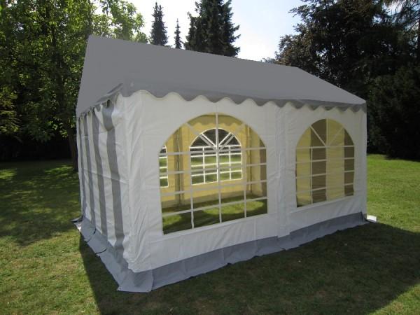 3x4m Gartenzelt mit grauer Dachplane wetterfeste PVC Plane