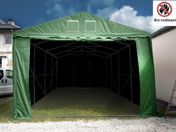 Lagerzelt 4x8m gruen feuerfest 3m Einfahrtshöhe
