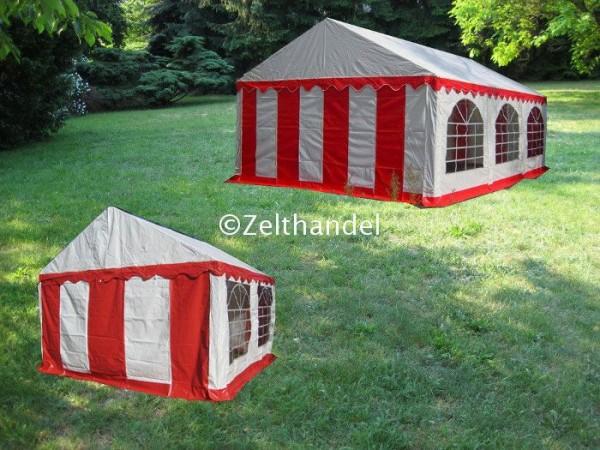 Kombizelt 4x6/4x4 rot-weiß mit 2 Dachplanen