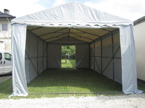 Lagerzelt 4x8 XXL PVC grau - 3m Einfahrtshöhe