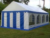 Partyzelt 6x8m blau-weiß mit Bodenrahmen und Dachverstrebung