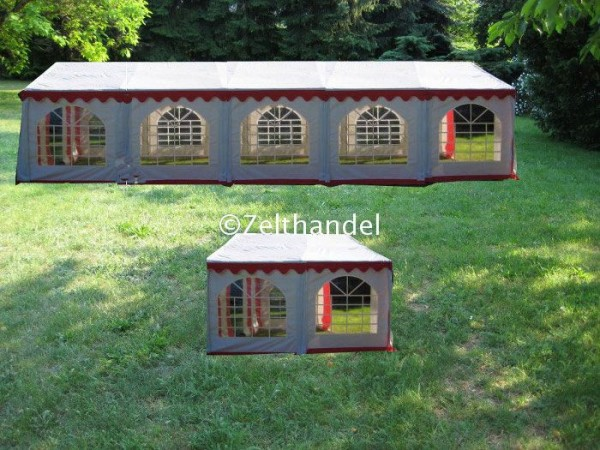 Kombizelt 5x10/5x4 rot-weiß mit 2 Dachplanen
