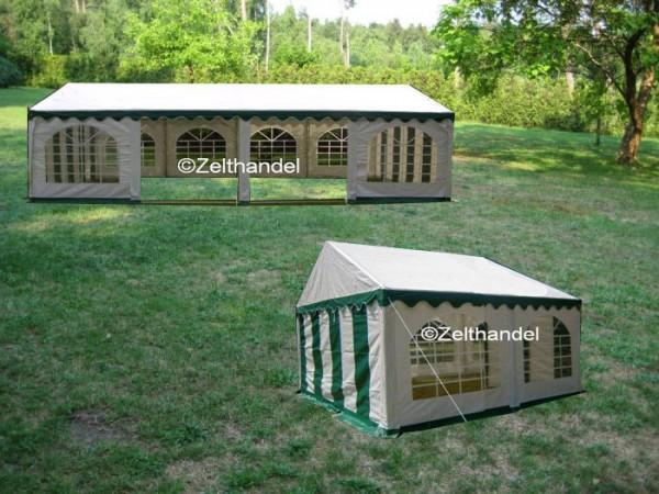 Kombizelt 4x8/4x4 grün-weiß mit 2 Dachplanen