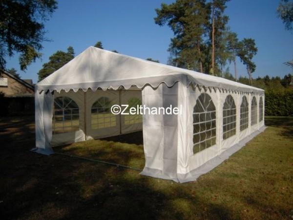 Partyzelt 6x10m grau-weiß mit Bodenrahmen und Dachverstrebung
