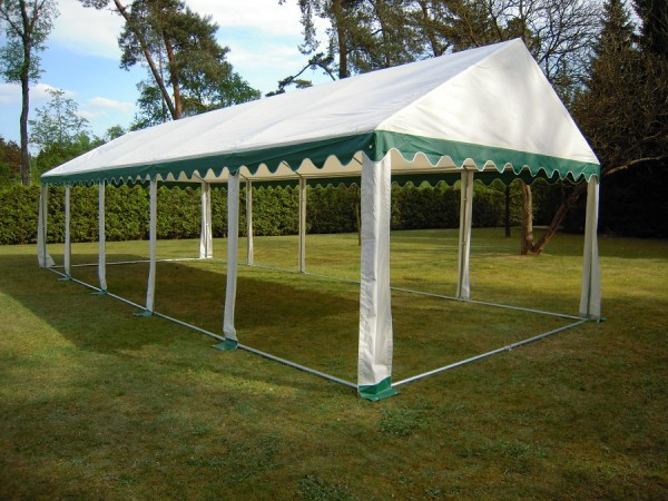 Zeltdach 4x10m, PVC grün-weiß