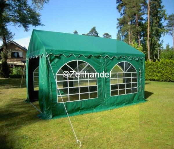 Partyzelt 4x4 grün mit Bodenrahmen und Dachverstrebung