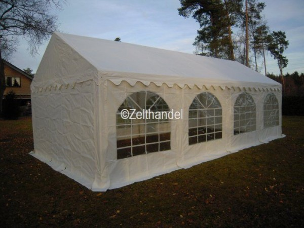 Partyzelt 4x8, PVC weiß mit Dach-und Bodenverstärkung