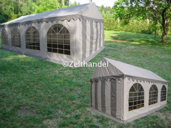 Kombizelt 3x8/3x6 grau-weiß mit 2 Dachplanen