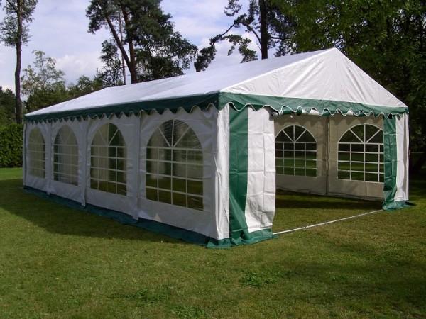 4x8m Zelt gruen-weiß PVC mit Bodenrahmen