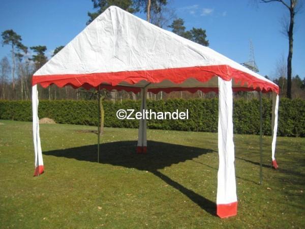 Zeltdach 4x4m PVC rot-weiß