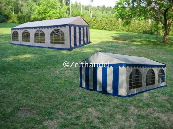 Kombizelt 6x8/6x6 blau-weiß mit 2 Dachplanen