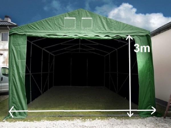 Lagerzelt 3x9 XXL PVC grün - 3m Einfahrtshöhe