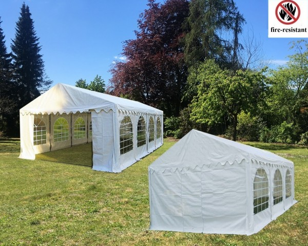 Kombizelt 4x8m und 4x6m weiß 2.30m Seitenhöhe PVC
