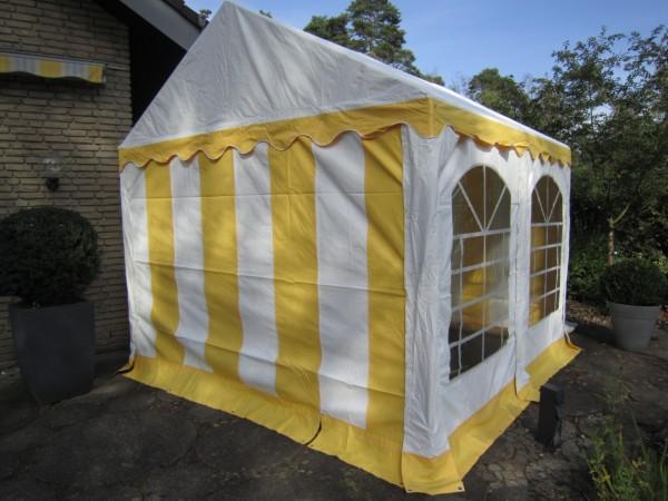 Partyzelt 4x4m gelb-weiß PVC Plane und Stahlgestänge
