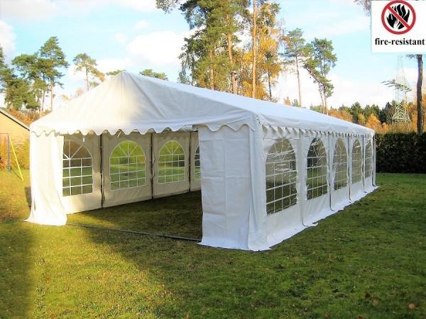 4x10m Partyzelt weiß feuerfest PVC