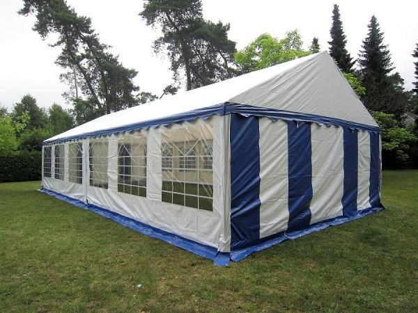 Festzelt 6x12 Gigant 2,2m Seitenhöhe, PVC blau-weiß feuerresistent
