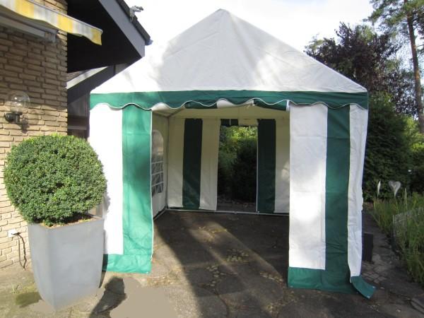Partyzelt 3x3m, PVC grün-weiß mit Bodenrahmen