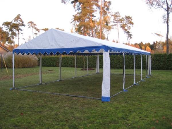 Zeltdach 5x10m, PVC blau-weiß